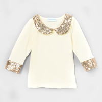 Sparkle Sequins Peter Pan Collar Shirt Yellow Gold