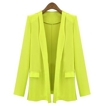 2015 New Fashion Design Women Slim Coat Casual Jackets Long Sleeve Wild casual thin suit jacket 4 Candy Colors WQ*E3117*55