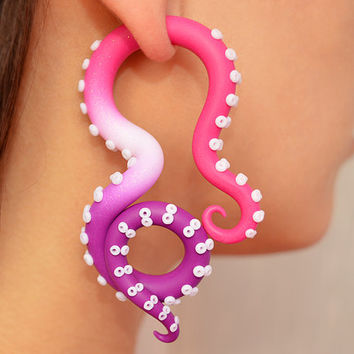 Ombre Tentacle Earrings, Ear Plugs and Fake Plugs, Octopus Fake Gauges, Faux Gauges, Tentacle Gauges, Fake Ear Plugs