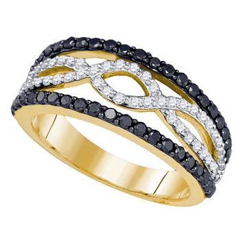 10kt Yellow Gold Womens Round Black Color Enhanced Diamond Band Ring 1.00 Cttw