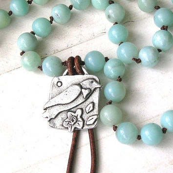 Knotted necklace - Song Bird - Bohemian jewelry, amazonite beaded leather necklace, boho country chic, sky blue robins egg sundance
