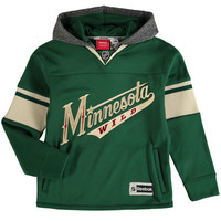 Youth Minnesota Wild Reebok Green Faceoff Jersey Pullover Hoodie