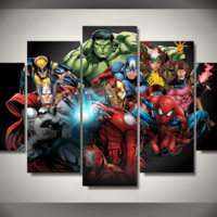 5 Piece Multi Panel Modern Home Decor Framed Avengers Marvel Comics Super Heroes Wall Canvas Art | Octo Treasures