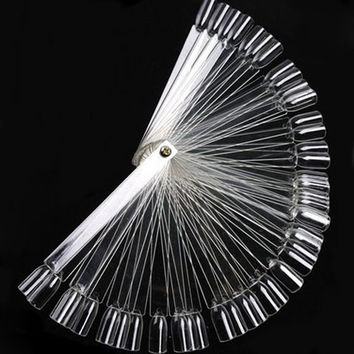 New 50 PCS False Nail Art Tips Stick Display Foldable Practice Fan Board