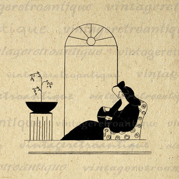 Printable Image Classic Lady Drinking Tea Graphic Digital Download Antique Clip Art for Transfers Making Prints etc HQ 300dpi No.3888