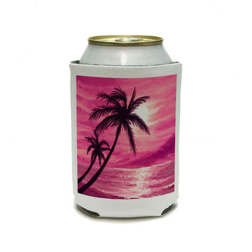 Sunset Beach Palm Tree - Hawaii Paradise Pink Can Cooler Drink Insulator Beverage Insulated Holder