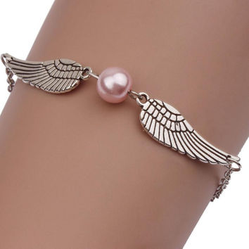 2016 Fashion Women Metal Braclet Angle Angel wings Design Bracelets For Women pulseira feminina men jewelry bileklik