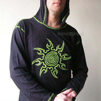 UV Spiral Star - Men's  Psy  Party  Shirt with Hood -  M size - Long Sleeve  - Cotton - Rave   - Festival