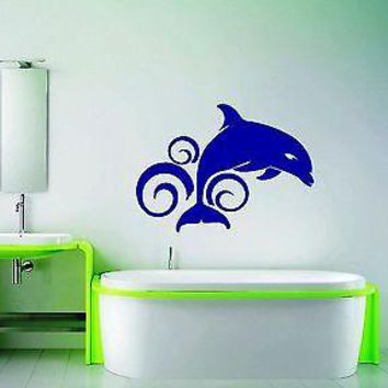 Wall Stickers Vinyl Decal Bathroom Dolphin Animal Ocean Wave Unique Gift ig1373