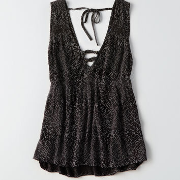 AEO Strappy Tie-Front Tank, Black