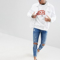 boohooMAN Sweat With Mercy Print In White at asos.com
