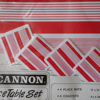 FREE SHIPPING - Cannon 8 Piece Table Set/Vintage Placemats/Coasters/Vintage Cannon Placemats and Coasters