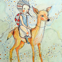 Forest Friends, girl and deer, BIG PRINT 11.69 x 16.54 inches (A3)
