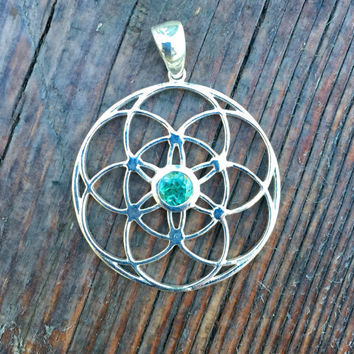Sacred Geometry, Sterling Silver Seed of Life Pendant with Green Tourmaline Center Stone
