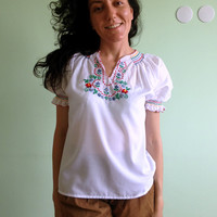 Embroidery Shirt, Mexican Blouse, Gypsy Clothing, Bohemian Top, Folk Costume, Peasant Tunic, White Shirt, Puff Sleeve Top,  Hippie Blouse
