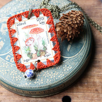 Mushroom Postage Stamp Necklace, 'Amanita muscaria' Postage Stamp, Crochet Border, Vintage Postage Stamp Necklace, Postage Stamp Jewelry