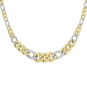 14K Yellow-White Gold Shiny 16-7.5mm Alternat e 3 Yellow+1 Long White Oval Link Fancy Necklace with Fish Clasp