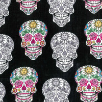 SUGAR SKULLS Black & White FLORAL on Black Color Día de Muertos Day of the Dead Half Yd Cotton Beautiful Fabric for Creative Genius Projects