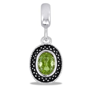 DaVinci Beads August Dangle Oval Peridot Green Jewelry