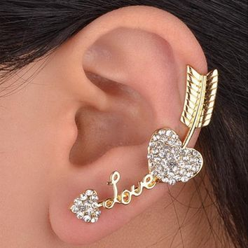 LNRRABC Silver Gold Clip Earrings For Women Heart Love Piercing Ear Studs Fashion Jewelry Accessories Gift Drop Shipping