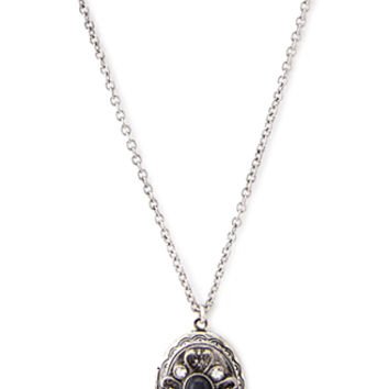 FOREVER 21 Heirloom Locket Pendant Necklace Black/Silver One