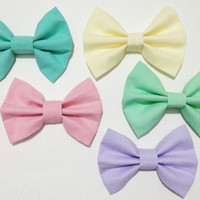 Pastel Fabric Hair Bows