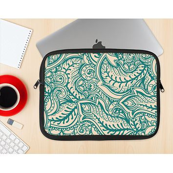 The Delicate Green & Tan Floral Lace Ink-Fuzed NeoPrene MacBook Laptop Sleeve