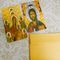 Handmade Religious Note Cards Russian Orthodox Icon Stationary  Christian Flat Note Cards