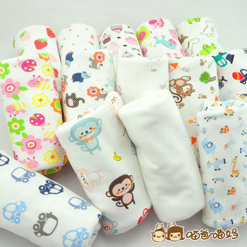 New arrival 50*180cm stretchy printing cartoon baby cotton knitted jersey fabric by half meter DIY baby clothing making fabric