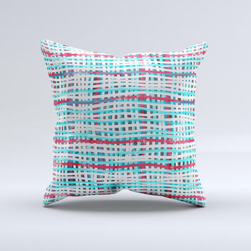 Woven Trendy Green & Coral Ink-Fuzed Decorative Throw Pillow