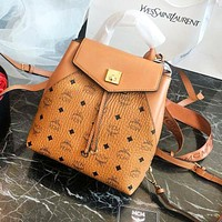 MCM New Fashion High Quality Letter Pattern Leather Backpack Shoulder Bag Bucket Bag Women Brown