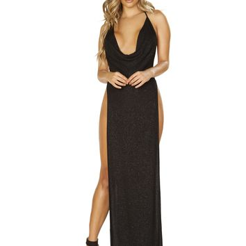 Glittery Shimmer Cowl Neck Maxi Length Dress