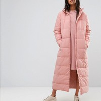 Ellesse Maxi Hooded Padded Jacket With Corset Back Detail at asos.com