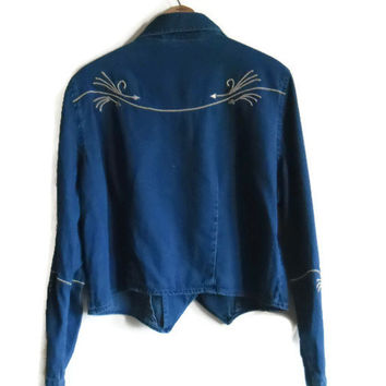 Denim Chambray Long Sleeve Shirt Arrow Embroidery Native American Western Size Medium Large