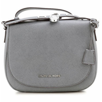 Michael Kors Hamilton Heather Grey Leather Messenger Bag