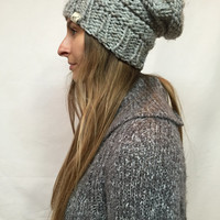 Knit Slouchy Hat Beanie Beehive Gray Tweed Warm And Cozy