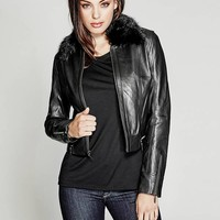 Brionna Leather Jacket at Guess