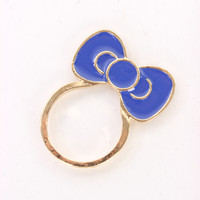 Royal Blue High Polish Metal Bow Design Cute Ring