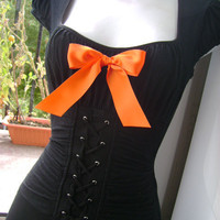sexy WITCH costume HALLOWEEN orange N black big bow by sparkleyes