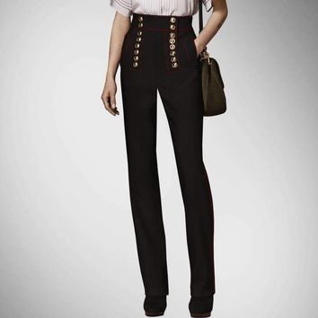 Pantalones Mujer Limited Button Regular Straight Women Pants  New Summer European Style Breasted High Waist Female Women