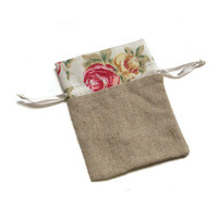 Mini Linen Drawstring Pouch with