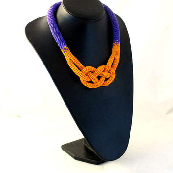 Beads crochet rope necklace a \purple and orange ,Josephine knot necklace ,beaded statement necklace ,beadwork ,summer fashion