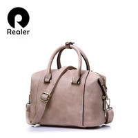 New Realer Brand High Quality Designer Women Boston Bag Imitation Leather Bag Women Crossbody Bag Black Ladies Tote