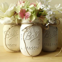 Painted Mason Jars, Three - Hand Painted Mason Jars, Creme, White and Grey, Rustic - Style Jars