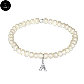 Solid 925 Sterling Silver Plain Fresh Water Pearl Paris Bracelets