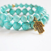 Reserved- Hamsa Bracelet in Mint and Gold