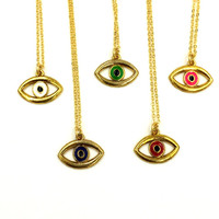 "EVIL EYE - VTG 90'S eye charm on 18K gold plated 18"" chain"