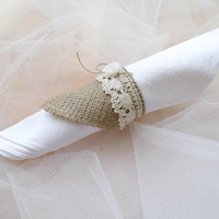 Napkin rings burlap and lace wedding decoration with organza rose and rustic wedding accessories set of a 100