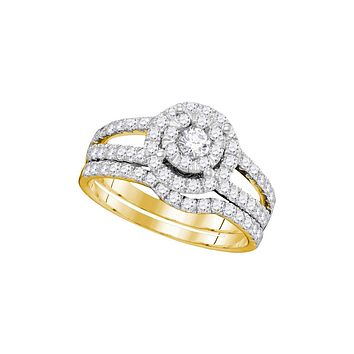 14kt Yellow Gold Womens Round Diamond Halo Split-shank Bridal Wedding Engagement Ring Band Set 1.00 Cttw