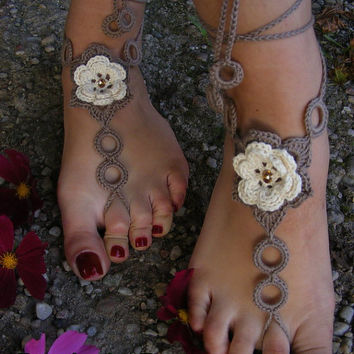 BEIGE ROSES    handmade beautiful barefoot sandals in beige-brown color with pearl beads /2/